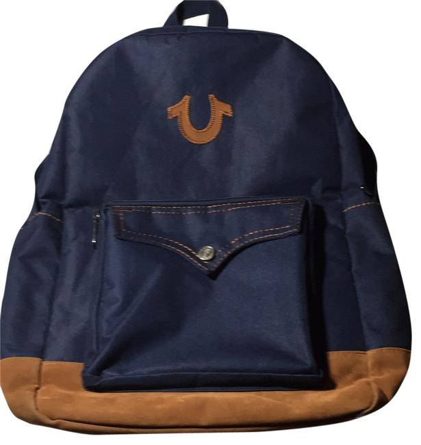 Item - Blue Denim Woven/Synthetic Leather Trim Backpack