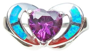 Beautiful Valentine Heart Faceted Amethyst and Opal 925 Sterling Silver Ring 8
