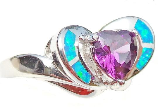 Other Beautiful Valentine Heart Faceted Amethyst and Opal 925 Sterling Silver Ring 8