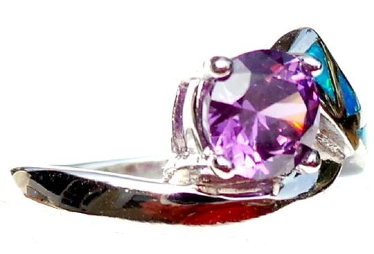 Other Lovely 2ctw Amethyst and opal 925 Sterling Silver Ring 7