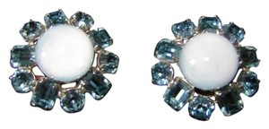 Vintage Moonstone and Topaz Clip On Earrings