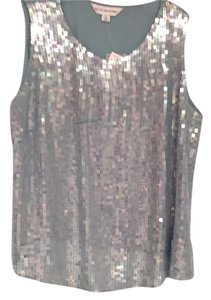 August Max Woman Silk Sequin Plus-size Top Seafoam