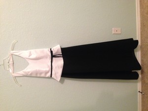 Alexia Designs Black & White Polyester Formal Bridesmaid/Mob Dress Size 0 (XS)