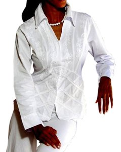 Lirome Cottage Chic Ibicenco Cozy Button Down Shirt White