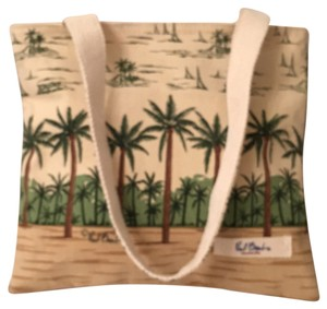 Pual Brent Canvas Beach Beach Travel Tote in Cream Tan Green
