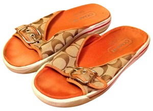 Coach Monogram Tan/brown/white Sandals