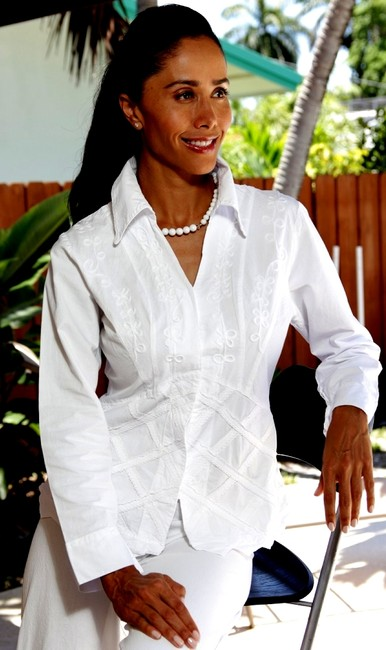 Lirome Cottage Chic Cozy Summer Resort Button Down Shirt White