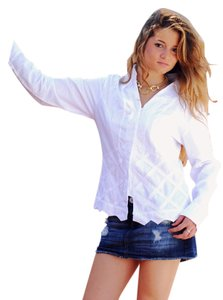 Lirome Cozy Vacation Resort Button Down Shirt White
