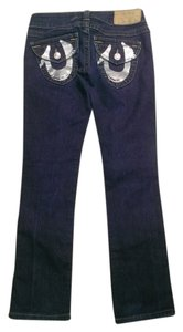 True Religion Logo Bling Straight Leg Jeans-Dark Rinse