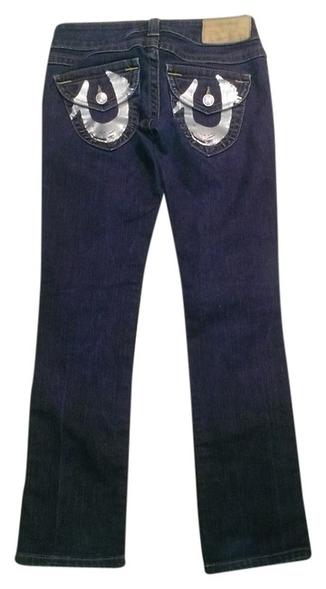 True Religion Silver Horseshoes Logo Bling Boot Cut Jeans