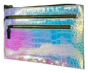 French Connection Mac Envelope Hand Metallic Hologram Opalescent Snake Texture Clutch
