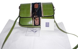 Leslie Fay Crocodile Embossed Mixed Media Distinctive Clasp Cross Body Bag