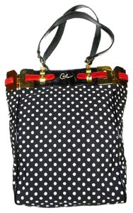 Christian Lacroix Polka Dot Vintage Patent Leather Crystals Tote in Black / White / Red