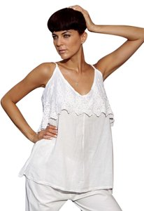 Lirome Embroidered Boho Cottage Chic Top White