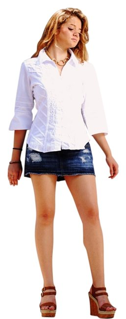 Lirome Embroidered Boho Cottage Chic Button Down Shirt White