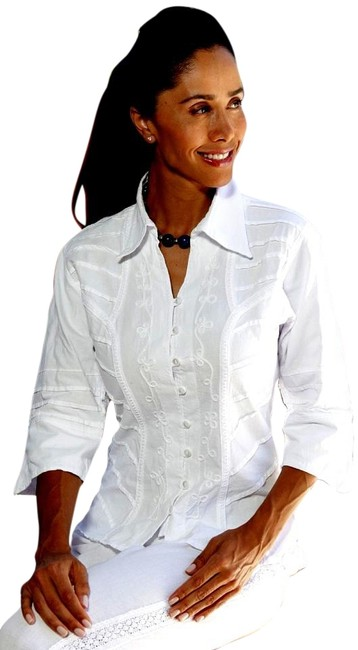Preload https://item4.tradesy.com/images/lirome-white-organic-cotton-34-bell-hem-sleeve-yurak-fitted-blouse-button-down-top-size-18-xl-plus-0-9656743-0-3.jpg?width=400&height=650