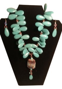 OOAK Florida Artisan Jeweler OOAK Whimsical Elegant Turquoise Statement Necklace and Earrings