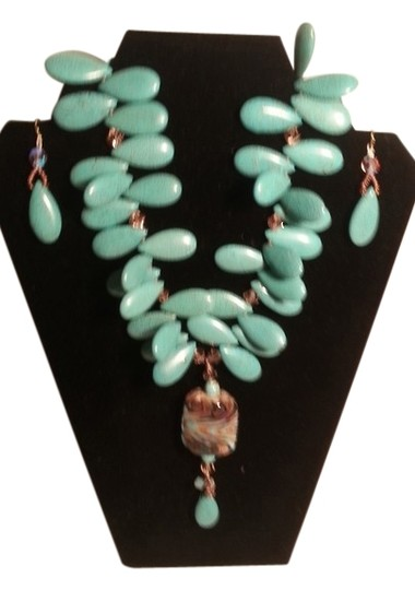 Preload https://item4.tradesy.com/images/turquoise-amber-and-citrine-whimsical-elegant-statement-earrings-necklace-9656773-0-1.jpg?width=440&height=440