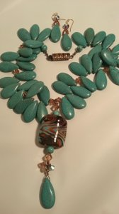 Florida Artisan Jeweler Whimsical Elegant Turquoise Statement Necklace and Earrings