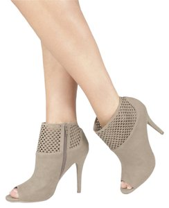JustFab Peep Toe Suede Taupe Boots