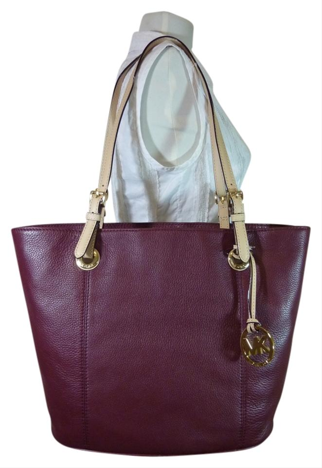 a6c029e475f4 Michael Kors Claret Large Jet Set Burgundy Leather Tote - Tradesy