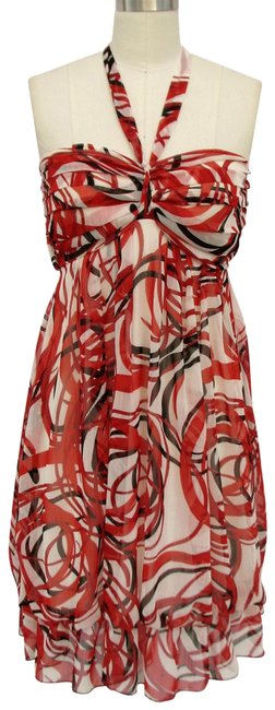 Red Sweet Printed Design and Pleated Bust Chiffon Sundress Halter Top Size 4 (S) Red Sweet Printed Design and Pleated Bust Chiffon Sundress Halter Top Size 4 (S) Image 1