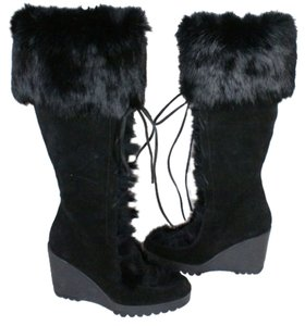 Coach Wedge Fur Suede Black Boots
