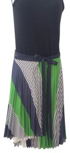Thakoon Pleated Cotton/Silk Blend Wrap Striped Grosgrain Ribbon Skirt Lime, Navy. White