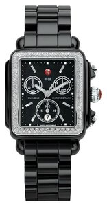 Michele Michele Deco Black Ceramic Diamond Chronograph Watch MWW06F000001