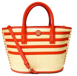 Tory Burch Tote in Natural and Red