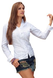 Lirome Embroidered Lace Button Down Shirt White