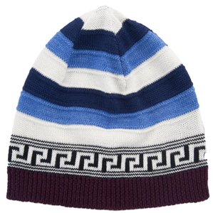 Versace Versace Blue/White Knitted Wool Blend Beanie Hat