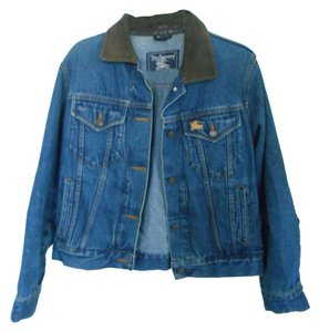 Burberry Vintage Demin Leather Collar blue Womens Jean Jacket
