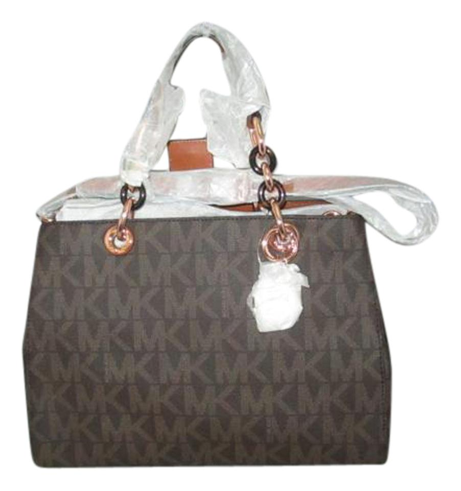 3072b1ea21fd Michael Kors Cynthia Medium Mk Signature Monogram Logo Satchel Tote Hobo  Brown   Rose Gold Pvc Shoulder Bag