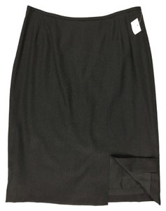 Albert Nipon 100% Wool Front Kick Pleat Skirt Black