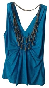 Anthropologie Silk Top Turquoise Blue