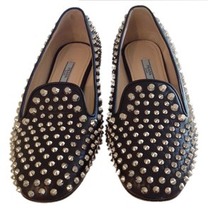 Prada Studded Luxury Silver Hardware Comfortable Black Flats
