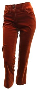 Etro Orange Cropped Velvet Capri/Cropped Pants