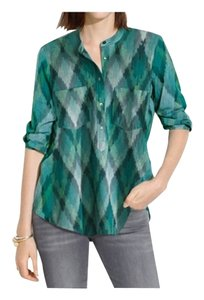 Madewell Button Down Shirt Green and Blue