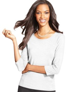 JM Collection Scoop Neckline Top Eggshell