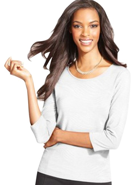 JM Collection Scoop Neckline Textured Fabric Pullover Style Vented Hem Easy Fit Top Eggshell