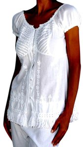 Lirome Fringe Hem Embroidered Top White