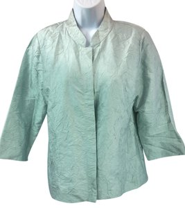Eileen Fisher Wrinkle Silk Blouse Button Down Shirt LIGHT GREEN