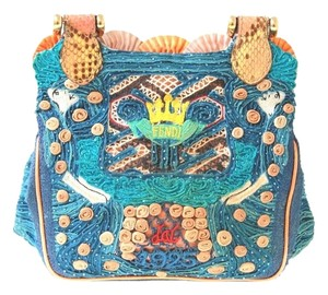 Fendi Seashells Embroidered Python Multicolor Clutch