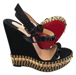 Christian Louboutin Nib Size 37 Black Cataclou Suede Leather Espadrilles 140mm Size 37 Wedge Espadrilles Cataclou Black Cataclou Black/gold Platforms