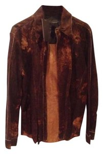 Jacobe leather shirt jacket, men Brown learher Leather Jacket
