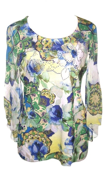 JM Collection 3/4 Chiffon Sleeves Floral Print Embellishments Front Unlined No Tags Top Blue