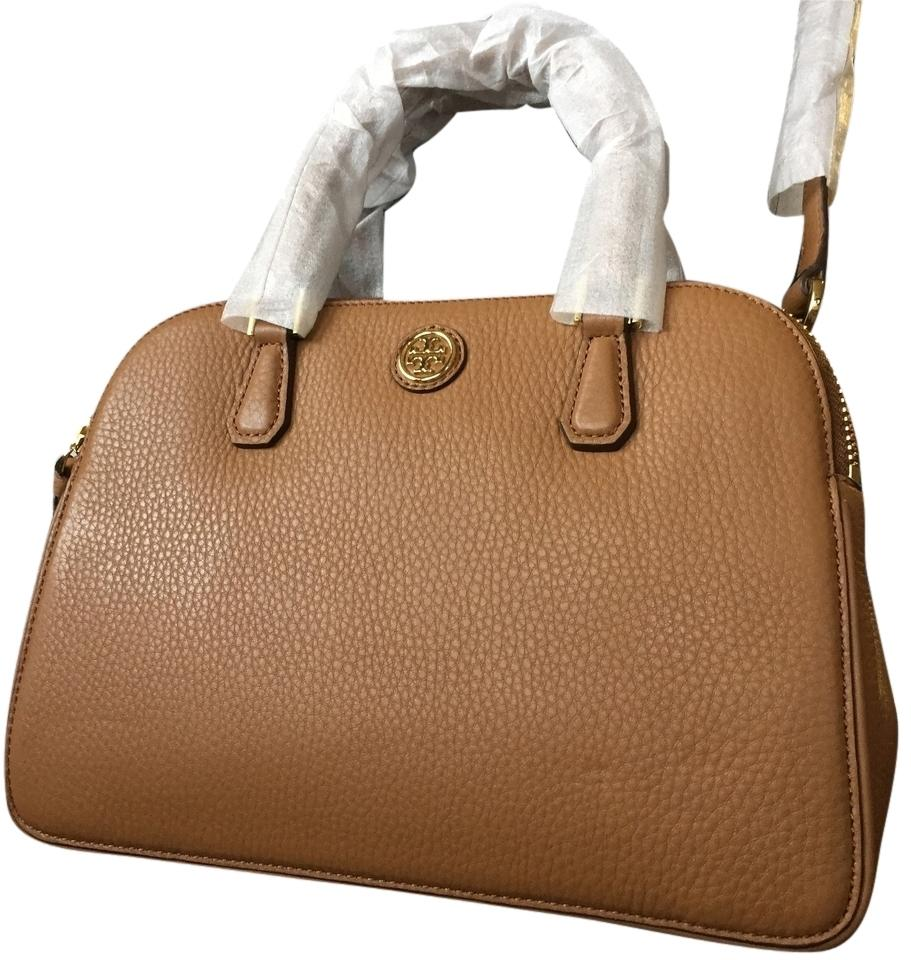 dfd4467f57b Tory Burch Robinson With Tags Small Double Tigers Eye Pebbled Leather  Satchel