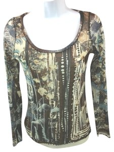 Fuzzi Stretchy Mesh Italy Top BROWN