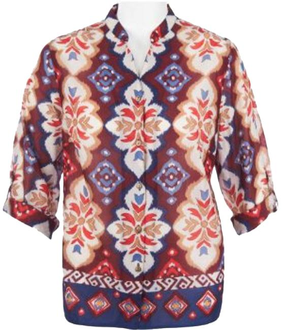 Alfred Dunner Cotton Split Neck Button Down Shirt Multi